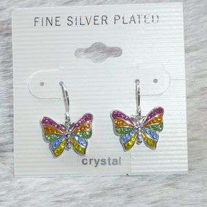 Crystal Butterfly Dangle Earrings Silver Plate New